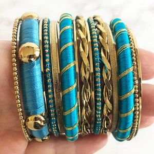 Jewelry - NIB Turquoise & Gold Thread-Wrapped Bangle Set